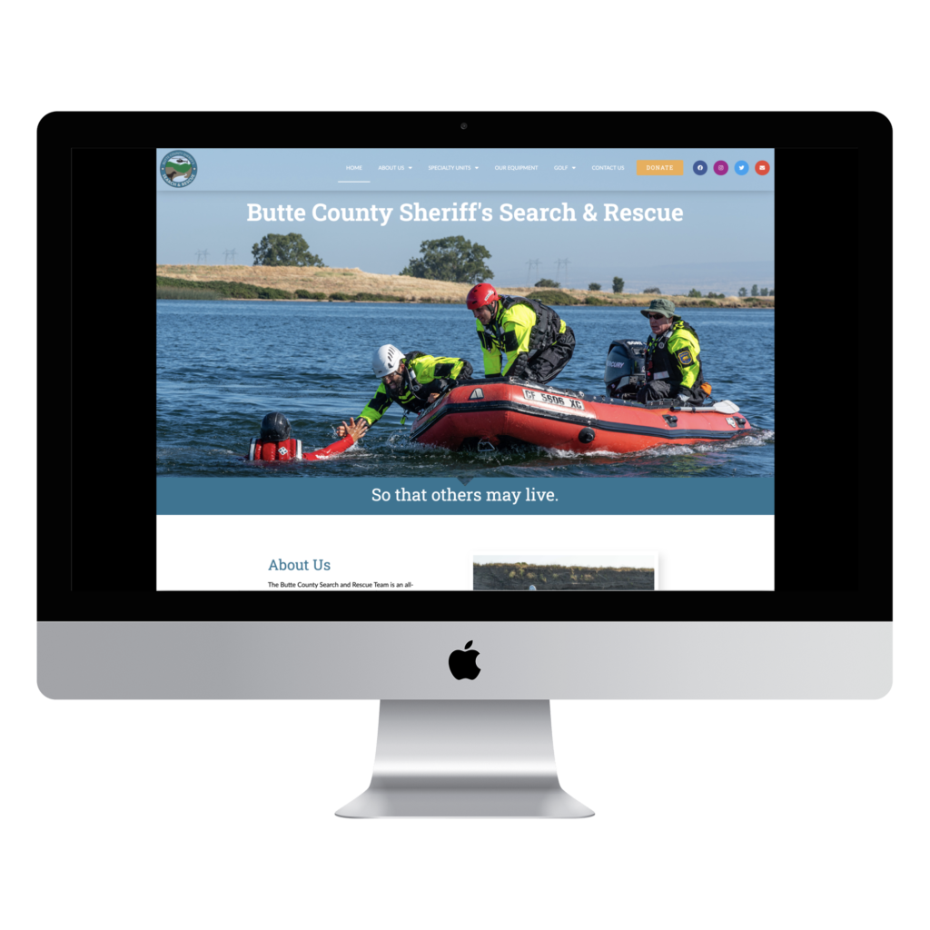 Website Designed for Butte County Sheriff's Search and Rescue - Chico, CA