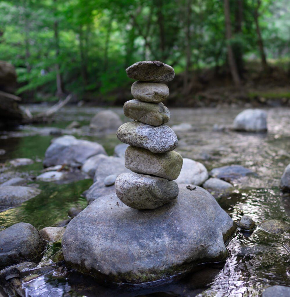 Rock Cairn in Big Sur River - Website Design & Photography Based in Chico, CA